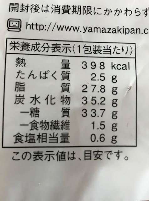 モフリンの栄養成分表示
