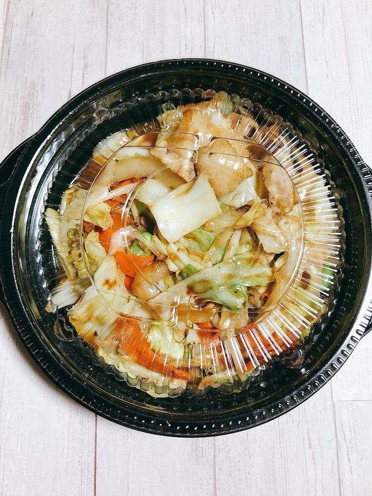肉野菜炒め弁当の上からみた写真