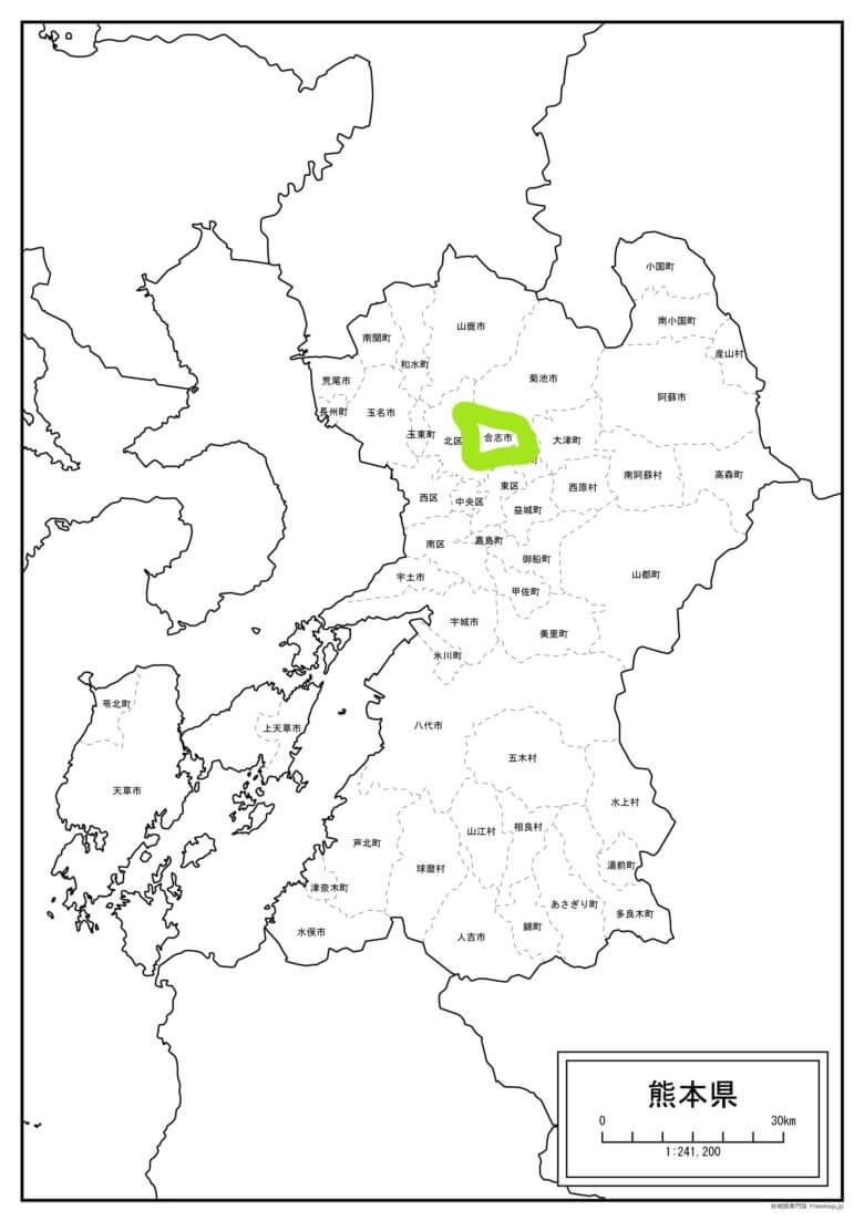 熊本県合志市の地図